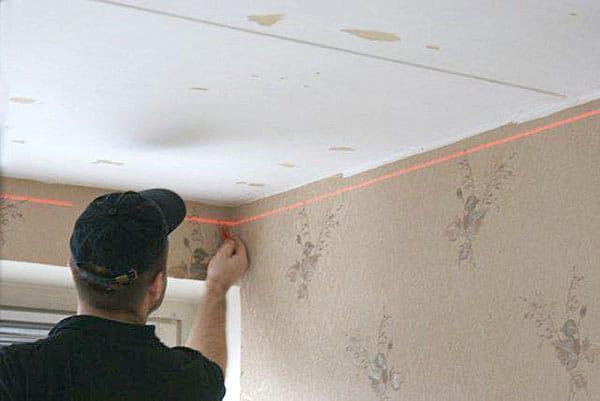 разметка установки натяжного потолка