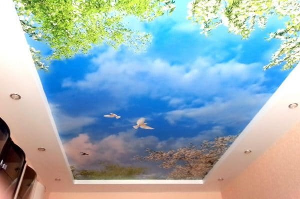 натяжной потолок 3д в виде неба