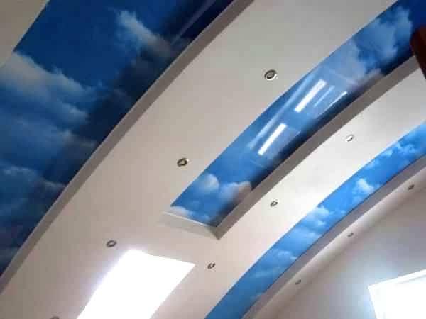 Натяжные потолки «небо с облаками»