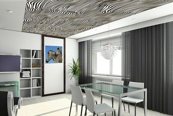 одноуровневые натяжные потолки в стиле хай-тек