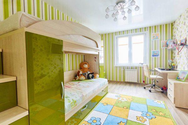 глфнцевый натяжной потолок в детской