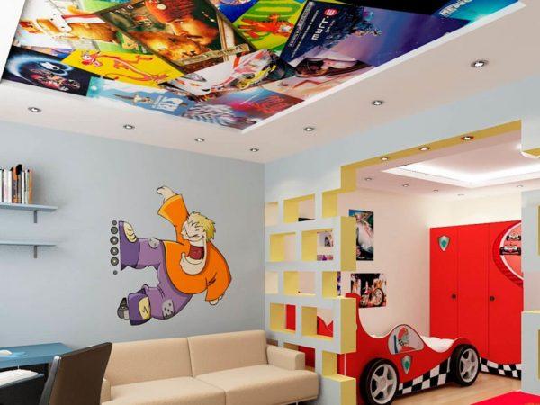 арт-печать на декоративном натяжном потолоке