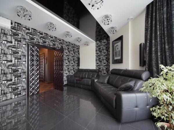 чёрный натяжной потолок
