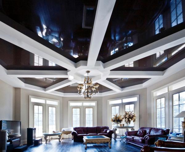чёрный натяжной потолок в стиле фьюжен