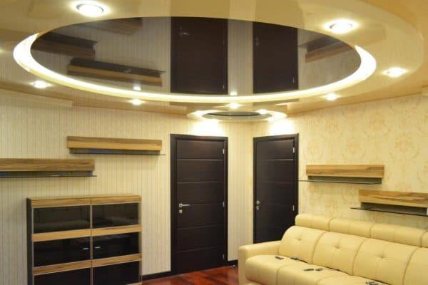 криволинейные натяжные потолки - двухуровневый круглый натяжной потолок