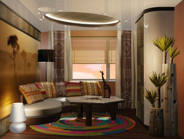 натяжной потолок в гостиной в африканском стиле