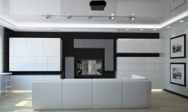 натяжной потолок в гостиной в стиле хай-тек