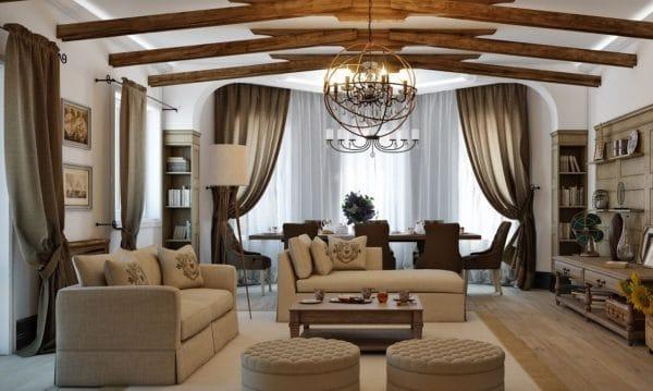 натяжной потолок в гостиной в стиле кантри