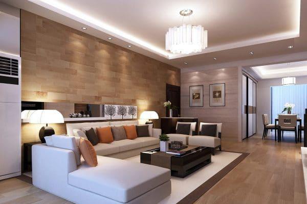 натяжной потолок в гостиной в стиле модерн