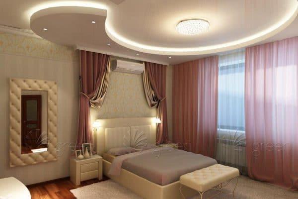 потолок натяжной в спальню с светильниками