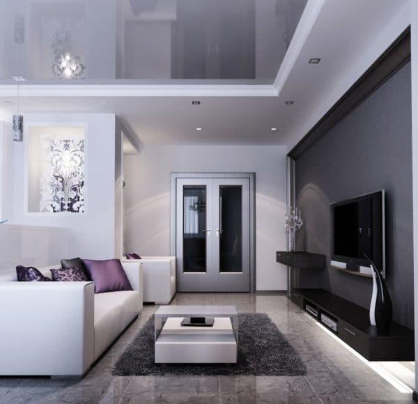 натяжной потолок бело-серого цвета