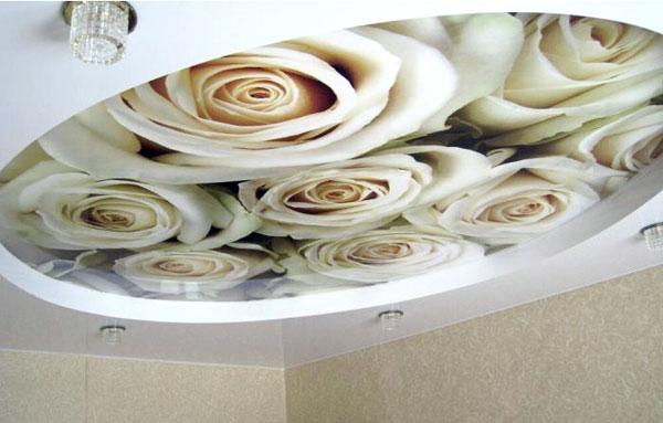 натяжные потолки с белыми розами