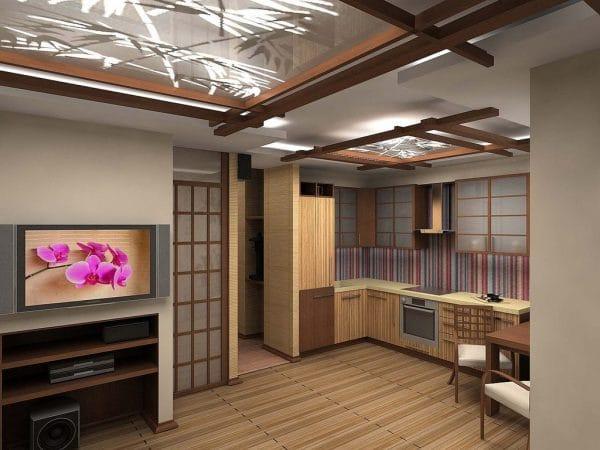 натяжные потолки в японском стиле на кухне