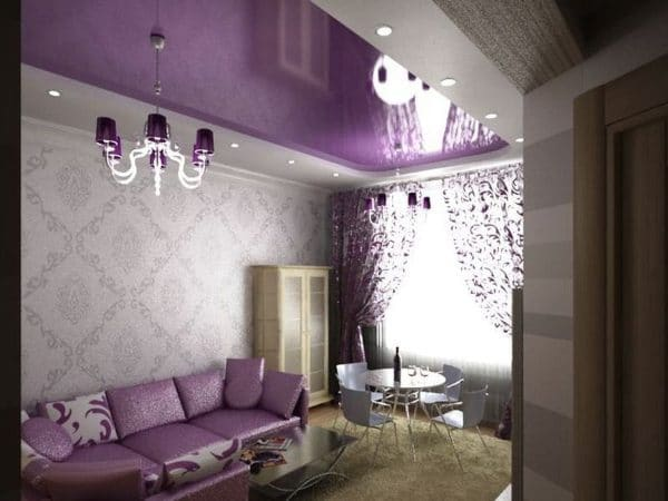 глянцевый фиолетовый натяжной потолок