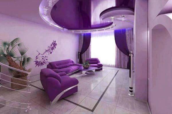 Многоуровневый фиолетовый натяжной потолок