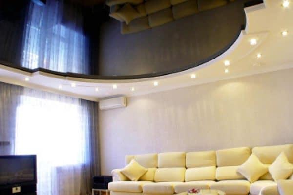 натяжные потолки Скай в гостиной
