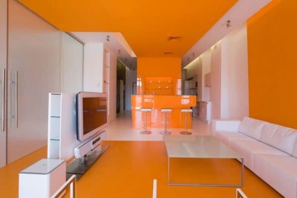 оранжевый натяжной потолок