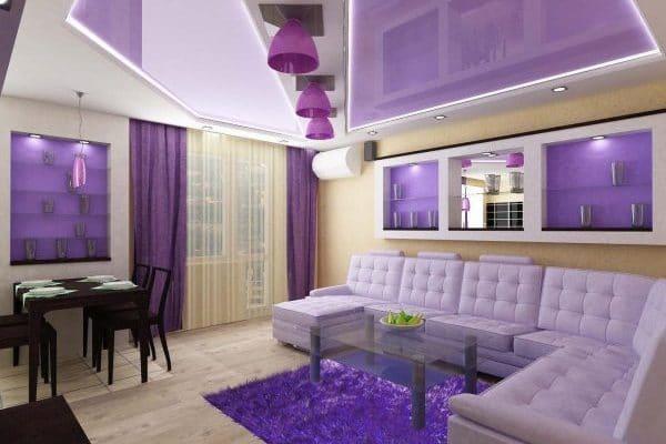 гостиная с сиреневым натяжным потолком