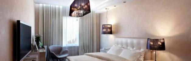 дизайн натяжного потолка в спальне - сатиновый натяжной потолок
