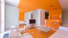 бело-оранжевая расцветка натяжного потолка
